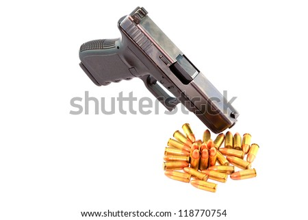 Semi automatic pistol and ammo with white background