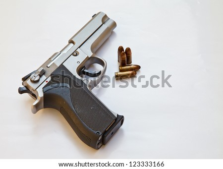 Semi-automatic pistol and bullets. pistol weapon for safety or dangerous