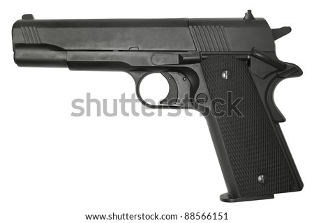 Semi-automatic pistol isolated on a white background.