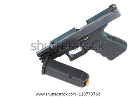 Semi automatic pistol with magazine