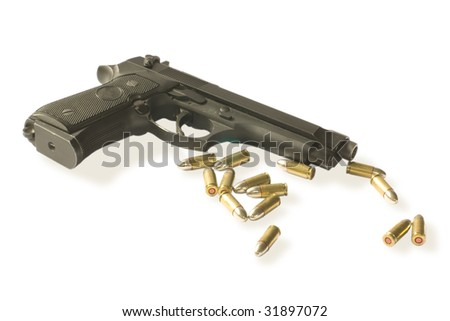 semi-autos gun with fourteen bullets caliber 9mm isolated on white. clipping path inside