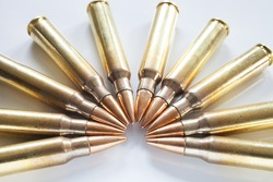 Semi circle of cartridges on white that have bullets with a steel core