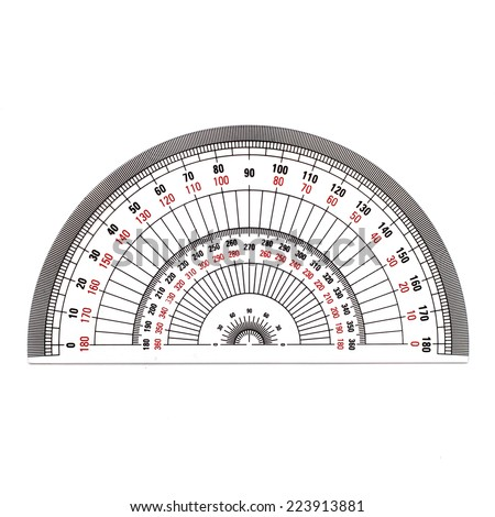Semi-Circle protractor isolated on white background