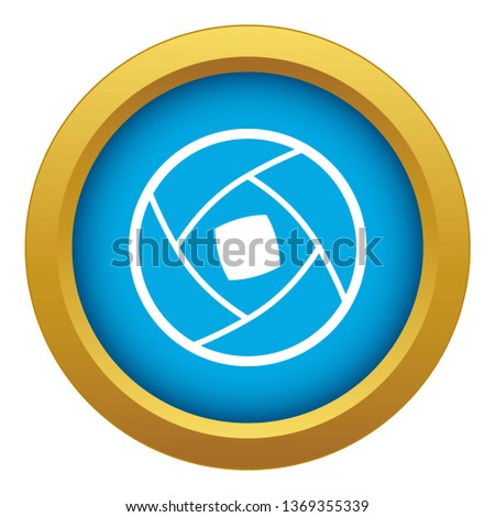 Semi-closed lens icon blue isolated on white background for any design