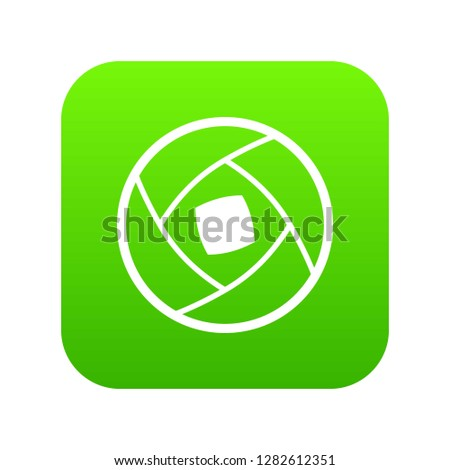 Semi-closed lens icon digital green for any design isolated on white illustration