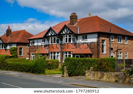 Semi detached houses in Manchester, United Kingdom ストックフォト ©