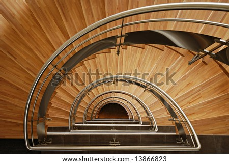 Semi elliptical wooden staircase