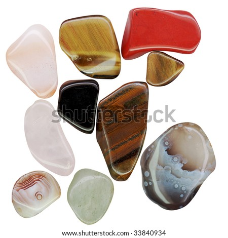 semi-precious stones isolated on a white background - stock photo