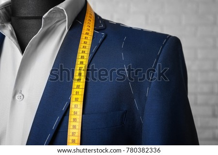 Semi-ready suit on mannequin indoors, closeup Stockfoto ©