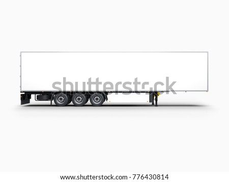 Semi Trailer Mockup isolated on gray, 3d rendering