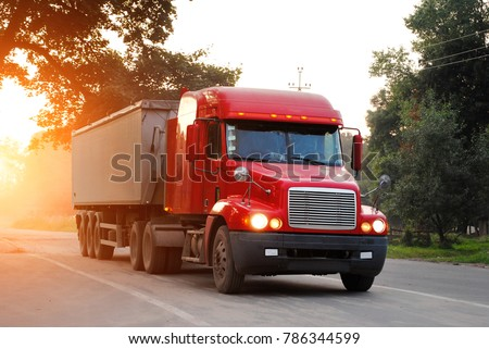 Semi-trailer truck in sunset #786344599