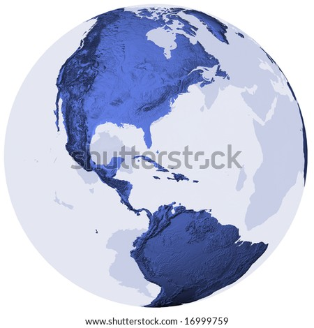 Semi-transparent globe with surface relief, centered on America. Isolated on white with clipping path.