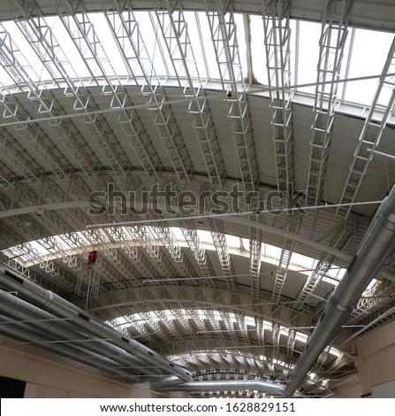 Semi Transparent Steel Construction Dome Roof Detail  Stok fotoğraf ©