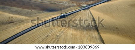 Semi-Truck driving through Wheat Fields, S.E. Washington