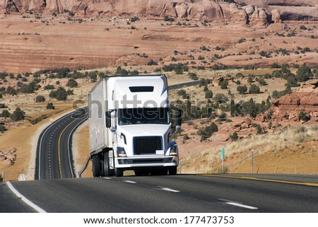 Semi Truck On Difficult Road In Utah, Usa
