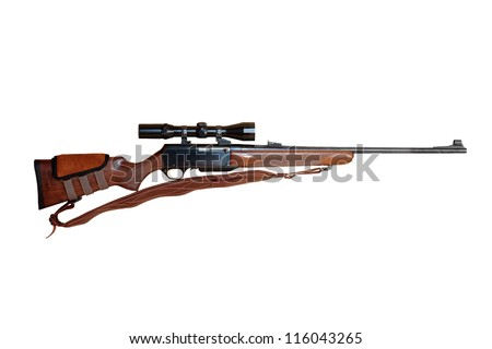 semiautomatic hunting rifle large-caliber equipped with optical viewfinder cut off and isolated