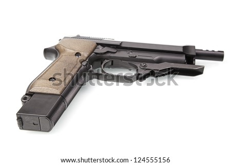 Semiautomatic pistol, isolated detail of firearm crime