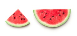 Semicircle and triangle shaped ripe watermelon slices isolated on white background, panorama