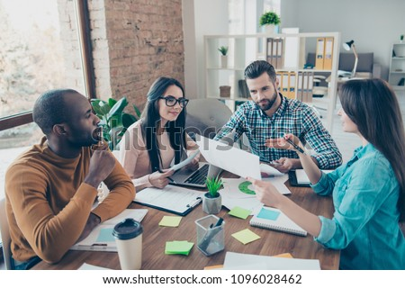 Seminar instruction show idea offer paperwork jeans success professional leader top leadership conversation gathering organization concept four smart clever pensive managers developing new action plan