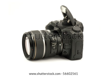 semiprofessional digital camera isolated on white background