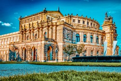 Semperoper is the opera house of the Sachsische Staatsoper Dresden (Saxon State Opera) and the concert hall of the Sachsische Staatskapelle Dresden. Saxony, Germany.
