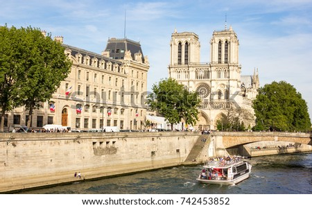 Shutterstock Sena river with Notre Dame cathedral on background