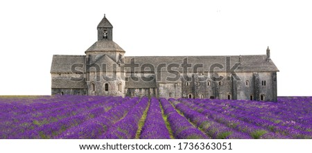 Photo of  Senanque Abbey (French: Abbaye Notre-Dame de Senanque) isolated on white background. It is a Cistercian abbey near the village of Gordes (Vaucluse, Provence, France.)