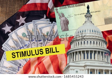 Senate stimulus deal includes individual checks virus economic stimulus plan USA dollar cash banknote on American flag Global pandemic Covid 19 lockdown Foto stock ©