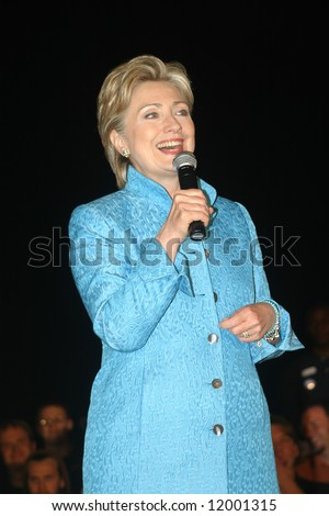 Senator Hillary Clinton at presidential campaign rally in Wilmington, NC, on April 27, 2008