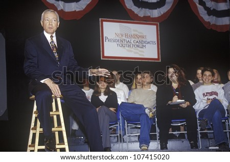 Senator Orrin Hatch addressing the New Hampshire Presidential Candidates Youth Forum, January 2000 - stock photo
