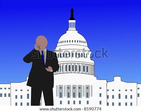 Senator talking on phone at capitol hill Washington DC JPG