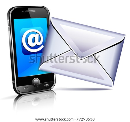 Send a letter icon - mobile phone concept showing email communication by phone - raster version