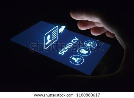 Send Cv Curriculum vitae Job Search Resume Business Internet Concept.