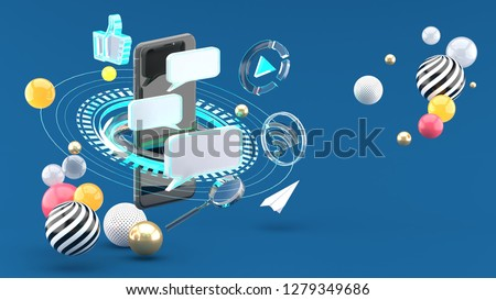 Send messages on smartphones surrounded by scifi circles and social media on a blue background.3d rendering.