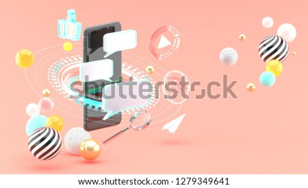 Send messages on smartphones surrounded by scifi circles and social media on a pink background.3d rendering.