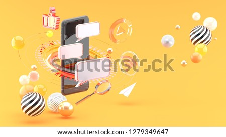 Send messages on smartphones surrounded by scifi circles and social media on an orange background.3d rendering.