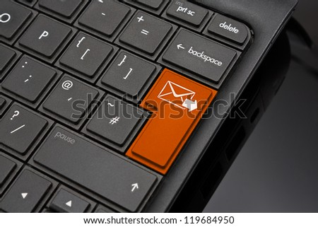 Send Return Key symbolizing sending a finshed message by email to a recipient via the internet