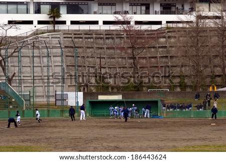 SENDAI, JAPAN - APRIL 5: Baseball training at April 5, 2014 in Sendai, Japan. Baseball is the most popular sports in Japan played througout the country.