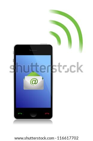sending an email cel phone illustration design over white