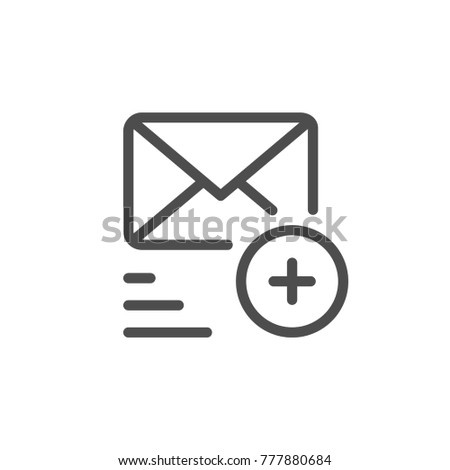 Sending mail line icon isolated on white