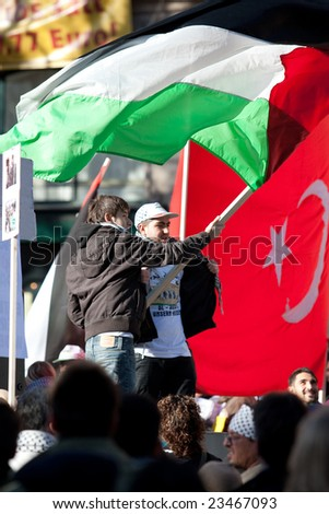 SENDLINGER TOR, MUNICH, GERMANY - JANUARY 16: Protestors gather to listen to speeches against the recent Israeli attack on the Gaza strip in Sendlinger Tor Munich, Germany on January 16, 2009.