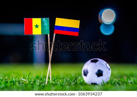 Senegal - Columbia, Group H, Thursday, 28. June, Football, World Cup, Russia 2018, National Flags on green grass, white football ball on ground. #1063934237