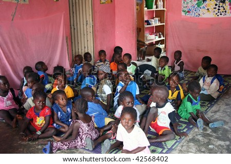 SENEGAL - FEBRUARY 19: Child Carabane Island have a school with the help of French NGOs and donations from tourists on February 19, 2007 in Carabane, Casamance, Senegal