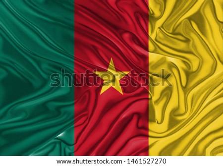 Senegal Flag of Silk, Flag of Senegal fabric texture background. #1461527270