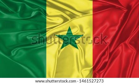 Senegal Flag of Silk, Flag of Senegal fabric texture background. #1461527273