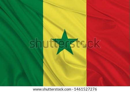 Senegal Flag of Silk, Flag of Senegal fabric texture background. #1461527276