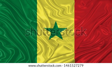Senegal Flag of Silk, Flag of Senegal fabric texture background. #1461527279