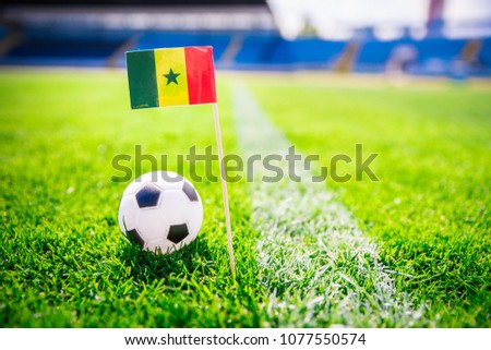 Senegal national Flag and football ball on green grass. Fans, support photo, edit space. Original wallpaper for World cup in Russia 2018. #1077550574