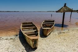 Senegal's pink water lake called Lake Retba or Lac Rose, north of the Cap Vert peninsula of Senegal, north east of Dakar