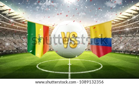 Senegal vs Colombia. Soccer concept. White soccer ball with the flag in the stadium, 2018. 3d render